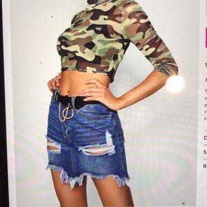 Boohoo ripped distressed denim mini skirt